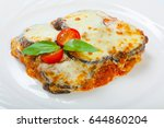 baked eggplant with cheese ... | Shutterstock . vector #644860204