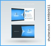 double sided blue business card ... | Shutterstock .eps vector #644864611