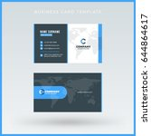 double sided blue business card ... | Shutterstock .eps vector #644864617