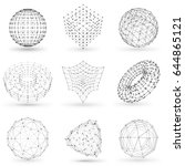 set of wireframe polygonal... | Shutterstock .eps vector #644865121
