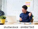 young man success celebration... | Shutterstock . vector #644867365