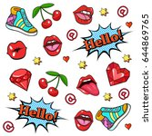 background with fashion patch... | Shutterstock .eps vector #644869765