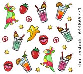 background with fashion patch... | Shutterstock .eps vector #644869771