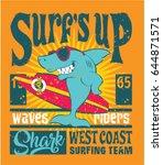 shark west coast surfing team ... | Shutterstock .eps vector #644871571