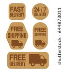 set of free shipping and free... | Shutterstock . vector #644873011