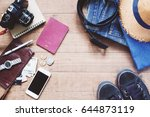 flat lay of traveler's items ... | Shutterstock . vector #644873119