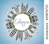 cologne skyline with gray... | Shutterstock .eps vector #644876731
