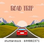highway drive with beautiful... | Shutterstock .eps vector #644882371