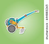 color icon with farm tractor... | Shutterstock .eps vector #644883265
