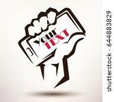 mans hand holding a mobile... | Shutterstock .eps vector #644883829