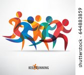 running people set of stylized... | Shutterstock .eps vector #644883859