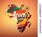 africa travel map  decorative... | Shutterstock .eps vector #644884147