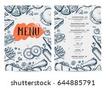 restaurant food menu hand drawn ... | Shutterstock .eps vector #644885791