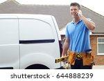 builder with van talking on... | Shutterstock . vector #644888239
