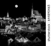 old midnight full moon city | Shutterstock . vector #644890465