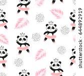 Stock vector cute panda ballerinas seamless pattern vector background for kids design 644892919