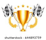 trophy cup and checkered flags | Shutterstock .eps vector #644893759
