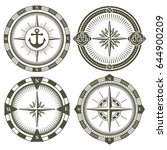 set of vintage compasses with a ... | Shutterstock .eps vector #644900209