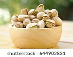Pistachio Nuts In Wood Bowl...