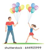 daughter with her father. happy ... | Shutterstock .eps vector #644905999