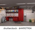 big garage interior with... | Shutterstock . vector #644907904