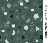 retro memphis geometric line... | Shutterstock .eps vector #644915347
