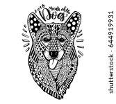 hand drawn dog corgi. a dog...   Shutterstock .eps vector #644919931
