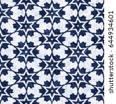 abstract indigo dyed star grid... | Shutterstock . vector #644934601