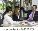 businessman clapping hands to... | Shutterstock . vector #644935279