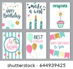 set of birthday cards with... | Shutterstock .eps vector #644939425