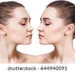 young woman before and after... | Shutterstock . vector #644940091