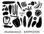 vegetables silhouettes on white ... | Shutterstock .eps vector #644942434