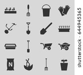 gardening icons set. set of 16... | Shutterstock .eps vector #644945365