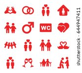 couple icons set. set of 16... | Shutterstock .eps vector #644947411