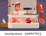 happy smiling sales man butcher ... | Shutterstock .eps vector #644947921