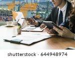 global logistics network... | Shutterstock . vector #644948974