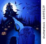 halloween. cemetery. | Shutterstock . vector #64495129