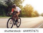 asian man cyclist riding a bike ... | Shutterstock . vector #644957671