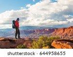 hiker in capitol reef national... | Shutterstock . vector #644958655