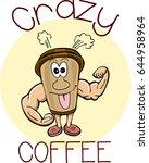 crazy coffee logo vector... | Shutterstock .eps vector #644958964