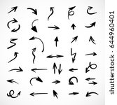 hand drawn arrows  vector set | Shutterstock .eps vector #644960401