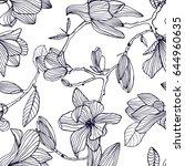 Flowering Magnolia. Hand Drawn...