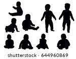 collection of baby silhouettes | Shutterstock . vector #644960869