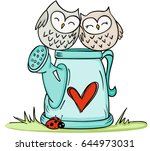 cute couple owls on love... | Shutterstock .eps vector #644973031