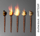 torch with flame. realistic... | Shutterstock .eps vector #644975269
