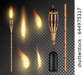 burning beach bamboo torch with ... | Shutterstock .eps vector #644975317