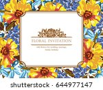 invitation with floral... | Shutterstock . vector #644977147