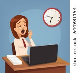 tired sad busy office worker... | Shutterstock .eps vector #644981194