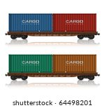 railroad flatcars with cargo... | Shutterstock . vector #64498201