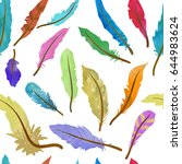 bright feathers. seamless... | Shutterstock .eps vector #644983624